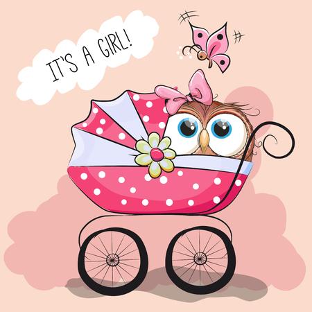 familia animada: tarjeta de felicitación que es una chica con el carro de bebé y búho lindo