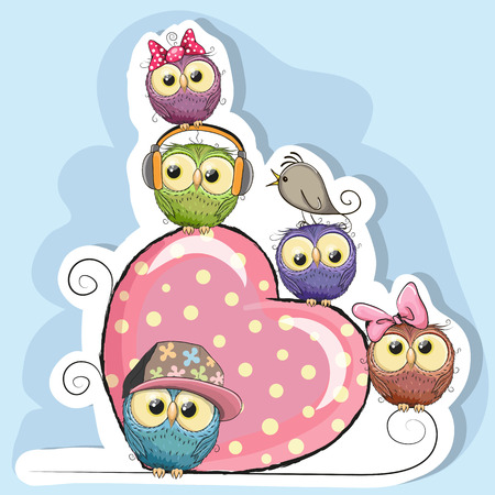 child birthday: Five Owls is sitting on a heart on a blue background