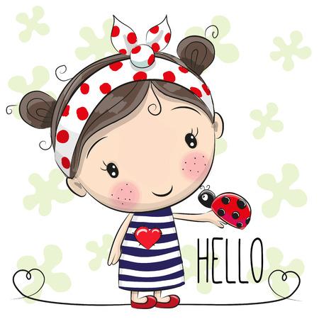 La muchacha linda de la historieta con un arco y una mariquita Foto de archivo - 61545606