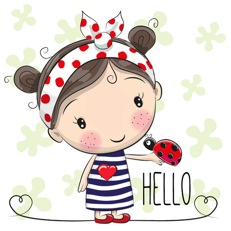 Cute Cartoon Girl with a bow and ladybug