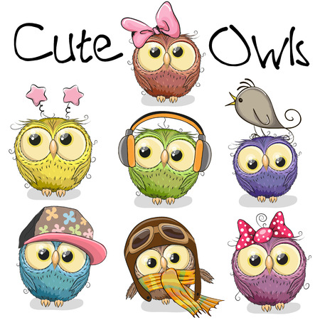 Set of cute cartoon owls on a white background 版權商用圖片 - 61545613