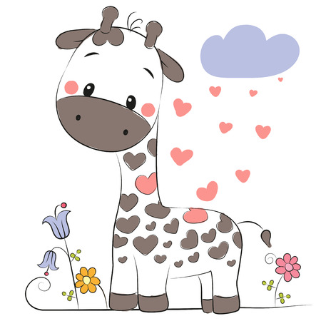 Cute Cartoon Giraffe and flowers on a white background