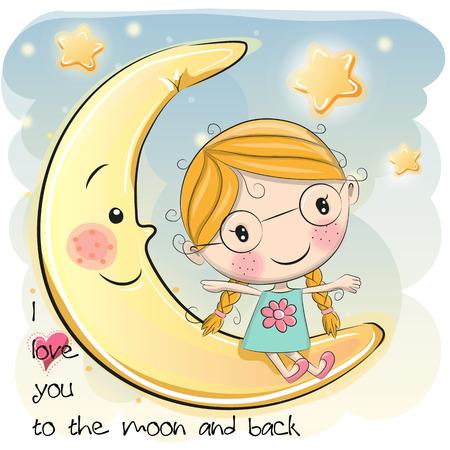 postcard back: Cute Cartoon girl is sitting on the moon