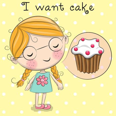 cartoon faces: Cute cartoon girl is dreaming of cake