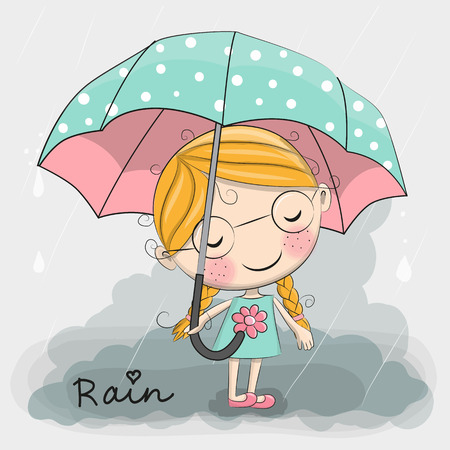 Cute cartoon girl girl with an umbrella standing under a rain Stock Illustratie