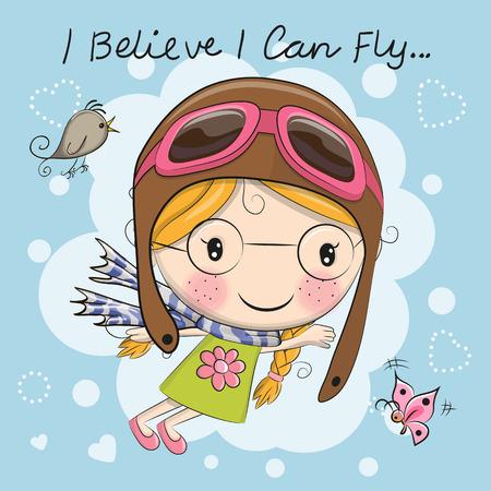cute girl: Cute cartoon girl in a pilot hat