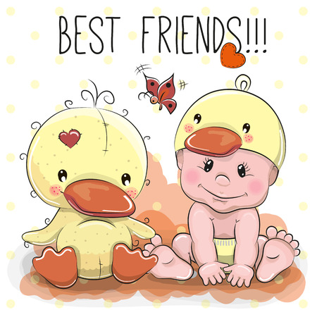 baby animal: Cute Cartoon Baby in a duck hat and a duck
