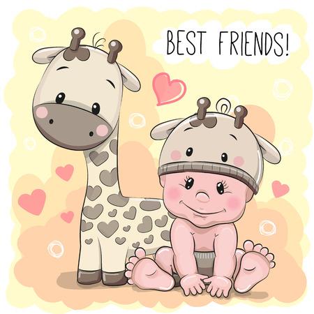 Bebé lindo de la historieta en un sombrero jirafa y jirafa Ilustración de vector