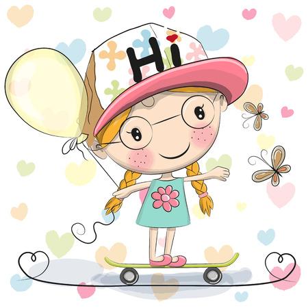 balloon girl: Cute Cartoon Girl with balloon on a skateboard