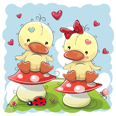 Two Cute Cartoon Ducks are sitting on mushrooms