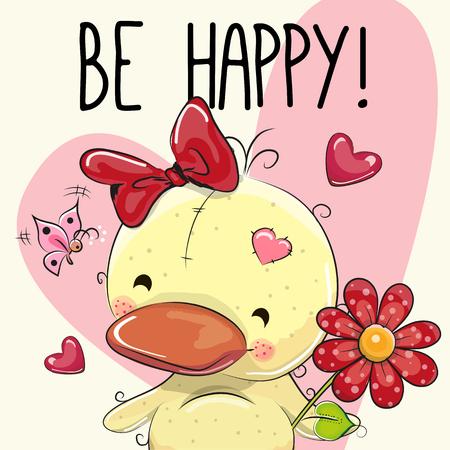 Soyez heureux Carte de voeux caneton mignon avec des coeurs et une fleur Banque d'images - 61545774