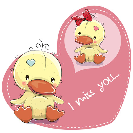 Greeting card Cute Dreaming Duckling on a heart background