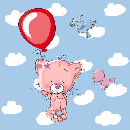 two birds: Cute Kitten with balloon and two birds Illustration