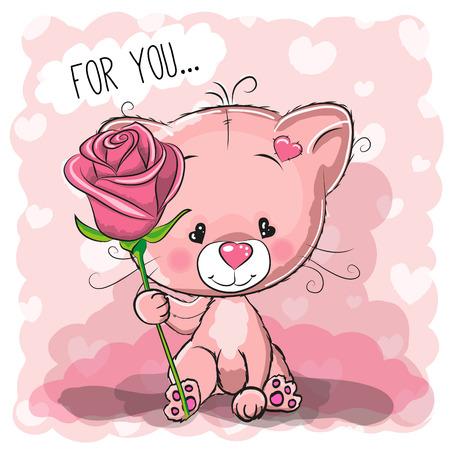 인사말 카드 핑크 배경에 꽃과 귀여운 만화 고양이
