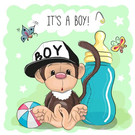 baby illustration: Cute Cartoon Monkey boy with feeding bottle