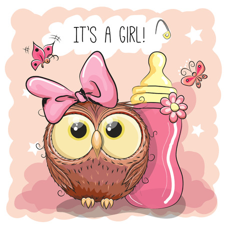 carved letters: Cute Cartoon Owl girl with feeding bottle