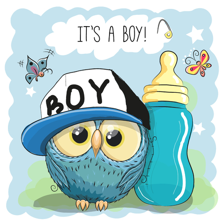 carved letters: Cute Cartoon Owl boy with feeding bottle Illustration