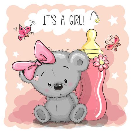 Ours mignon fille Teddy Cartoon avec biberon