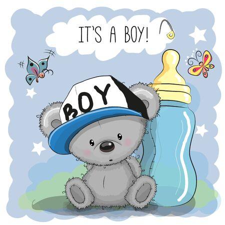 baby blue: Cute Cartoon Teddy bear boy with feeding bottle Illustration