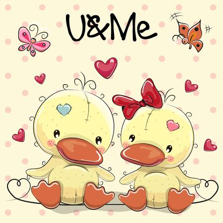 Zwei nette Enten auf einem Herzen Hintergrund Vektorgrafik