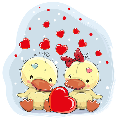 hearts background: Two Cute Ducks with heart on a hearts background Illustration