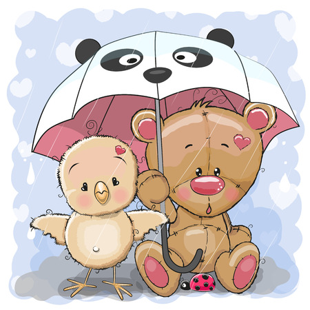 Cute Cartoon Bear and Chicken with umbrella Illustration