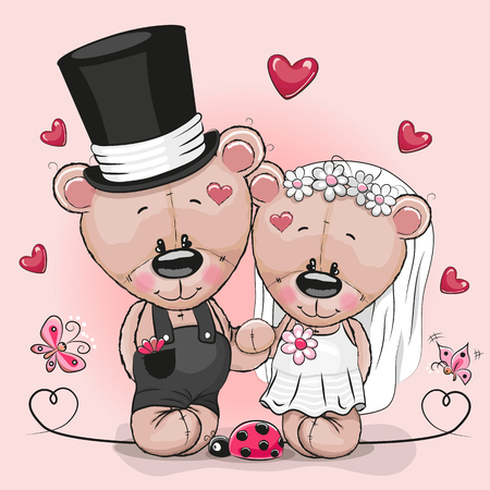 married couples: Greeting card Teddy Bride and Teddy groom on a pink background Illustration