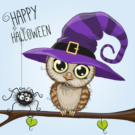 Cute cartoon owl in a witch hat is sitting on a branch Illustration