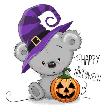 Ilustración de Halloween de la historieta del oso con calabaza