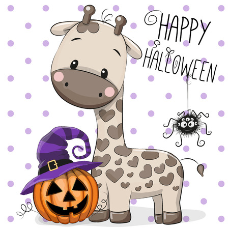 dedicate: Halloween illustration of Cartoon giraffe on a dots background
