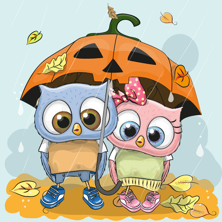 Halloween card Two cute cartoon Owls with umbrella under the rain