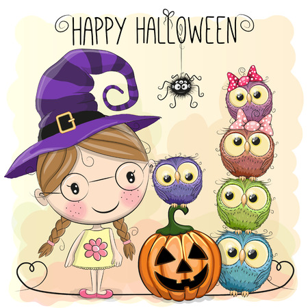 face painting: Halloween card with girl and owls on a yellow background