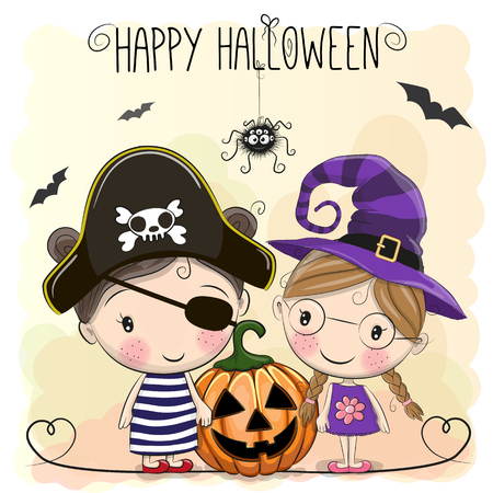 two girls: Halloween card with two girls and spider Illustration