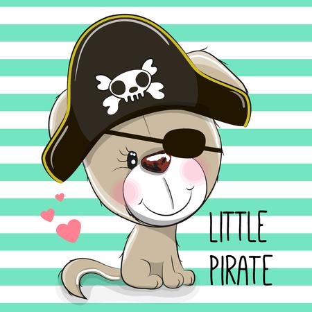 cartoon hat: Cute cartoon Puppy in a pirate hat