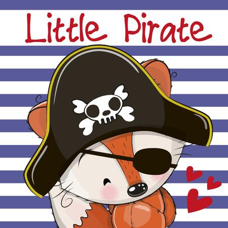 cartoon hat: Cute cartoon Fox in a pirate hat Illustration