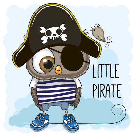 Cute cartoon Owl in a pirate hat Stock Illustratie