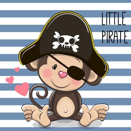 sombrero pirata: Mono lindo de la historieta en un sombrero de pirata