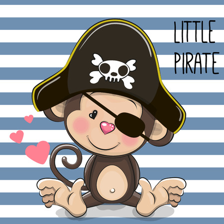 Cute cartoon Monkey in a pirate hat