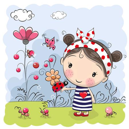 hello heart: Cute Cartoon Girl with ladybug on a meadow Illustration