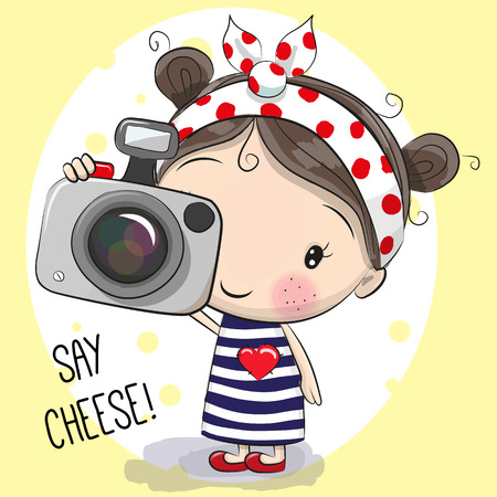 Cute cartoon Girl with a camera on a yellow background