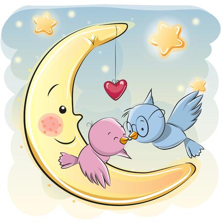 declaration of love: Two Cute Cartoon Birds on a moon background