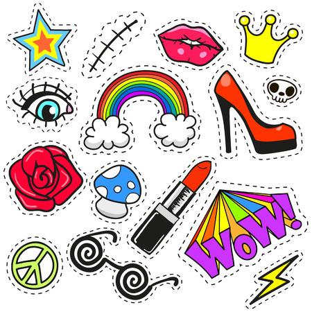 insignias: Conjunto de moda de insignias de parche de dibujos animados o pines distintivos