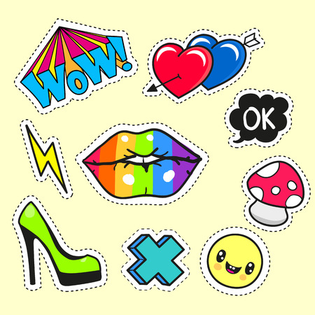 fashion set: Fashion set of cartoon patch badges or pin badges