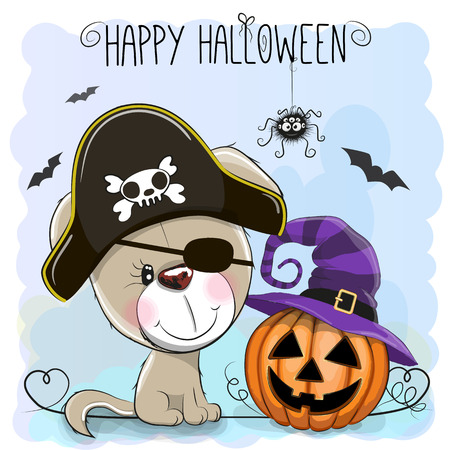 Halloween illustration of Cartoon Puppy in a Pirate hat and pumpkin Vector Illustration