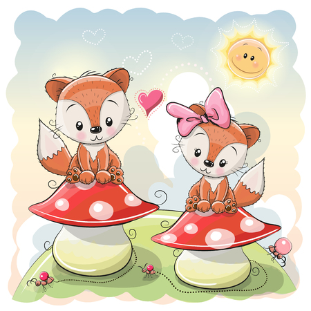 Two Cute Cartoon Foxes are sitting on mushrooms 向量圖像