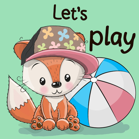 Cute Fox with a ball on a green background Illustration