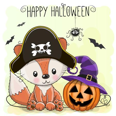 dedicate: Halloween illustration of Cute Cartoon Fox and pumpkin