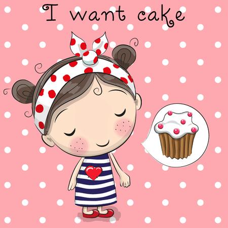 dreaming girl: Cute cartoon girl is dreaming of cake
