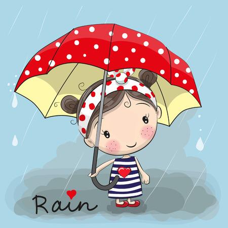 비가 아래 서 우산을 가진 귀여운 만화 소녀 소녀