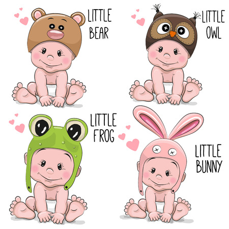 Set of Cute Cartoon Babies in hats of different animals